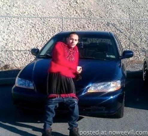 car posing on car