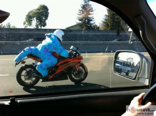 costume on motorcycle