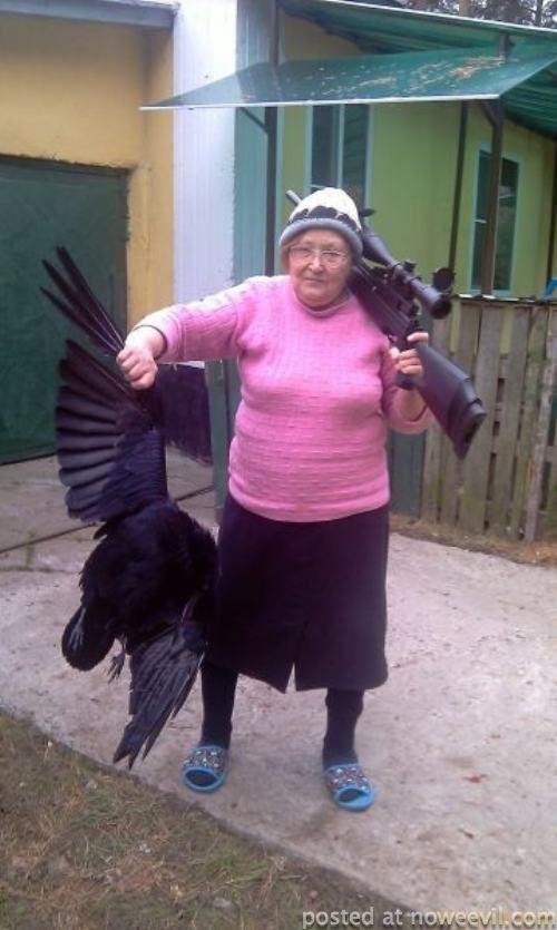 grandma shoots bird