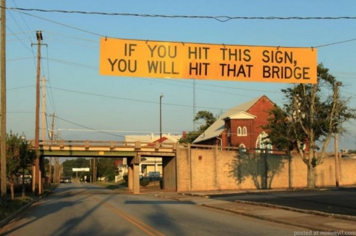 hit sign hit bridge
