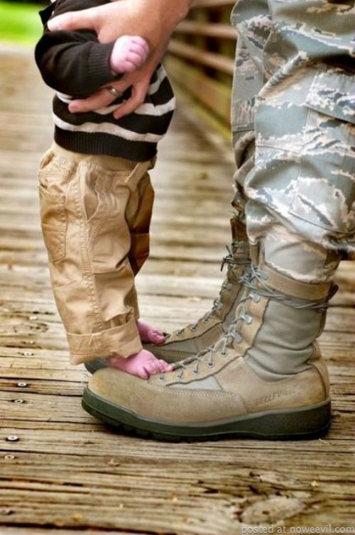 kid on military dad boots