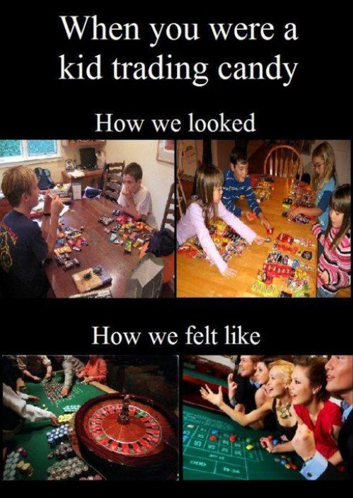 kids trading candy