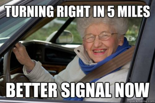 old lady signaling