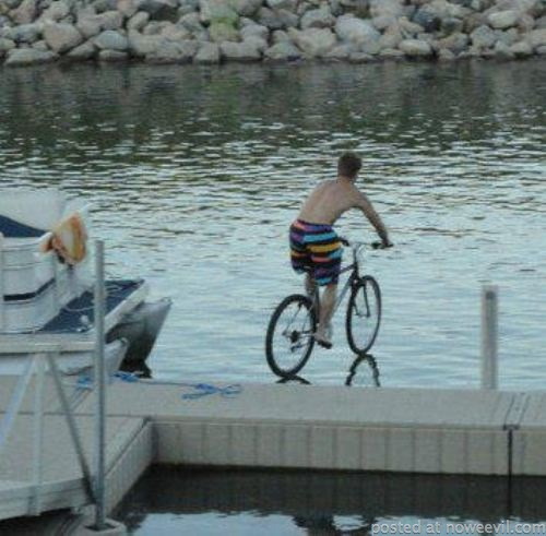 riding bike on water