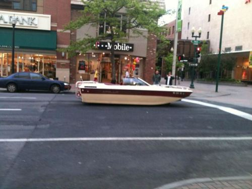 boat on road