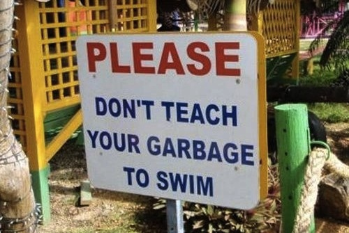 garbage to swim