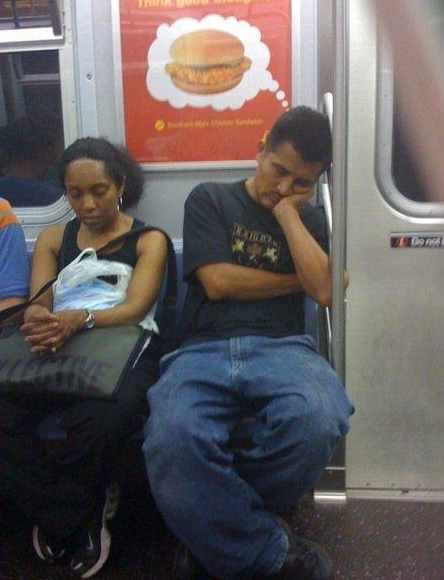 sleeping on subway