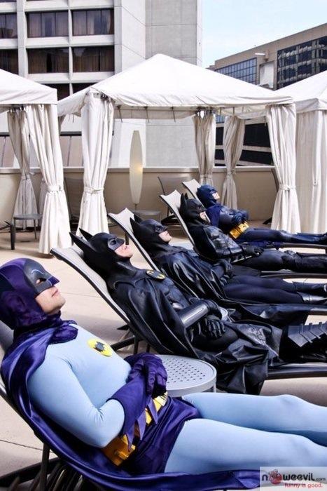 batman suntanning