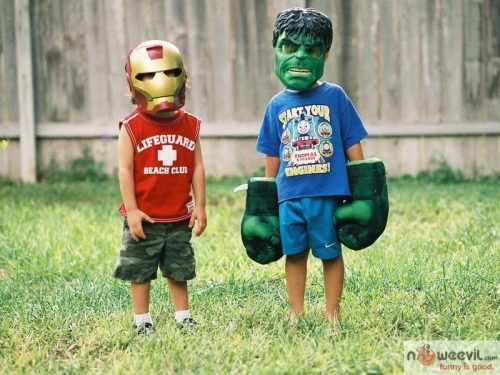 kids as hulk and iron man