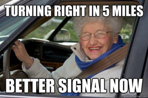old lady signaling