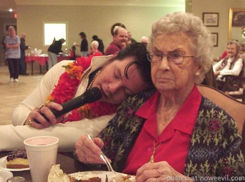 old lady with elvis