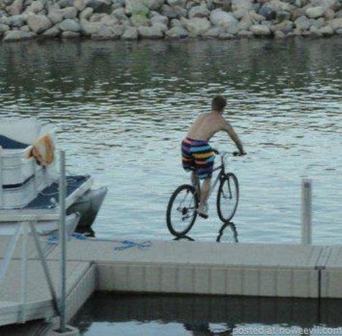 riding bike on water