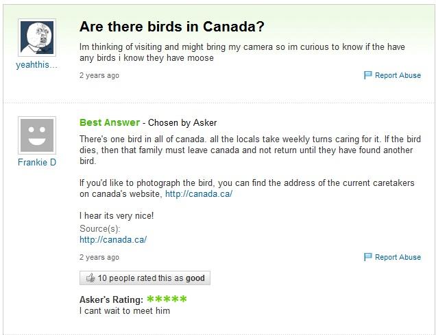 birds in canada