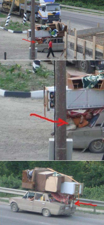 guy hiding on car