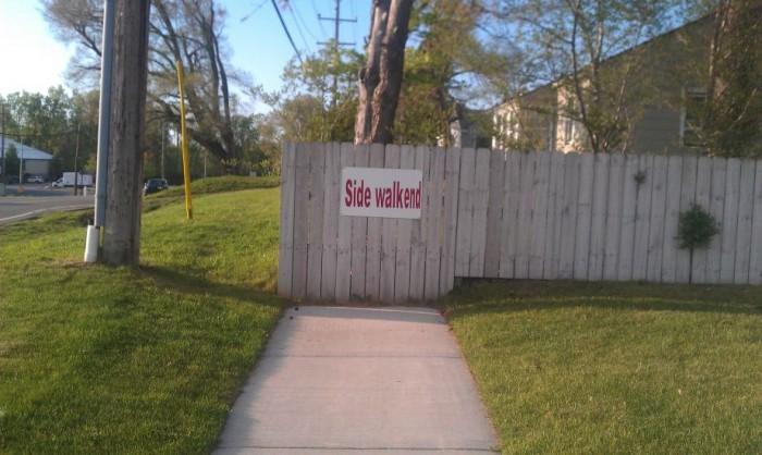 side walk end