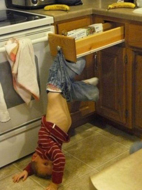 kid on drawer